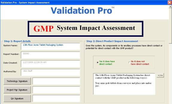Product Name Validation Pro System Impact Assessment Sia